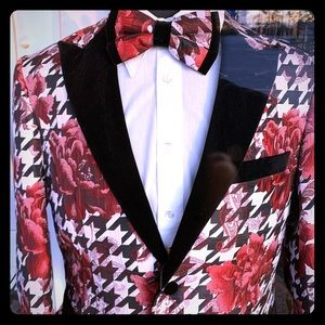 Red white black sports coat blazer with free bow
